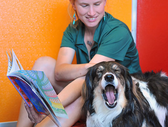 Reading a book to a yawning dog